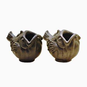 Jarrones en forma de pez de Just Andersen, años 30. Juego de 2