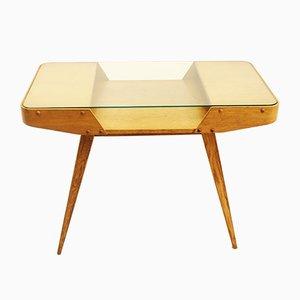 Tavolino da caffè vintage in quercia e vetro