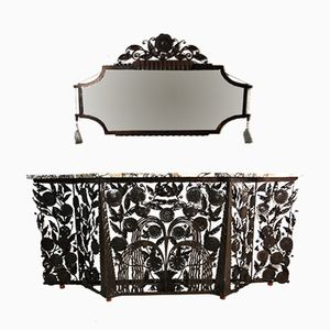 Vintage Bronzed Iron Sculptural Console Table & Mirror Set