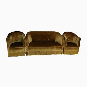 Grünes Vintage 2-Sitzer Sofa mit Bezug aus Angorawolle & Sessel, 1950er