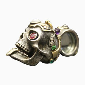 Vintage Gold & Silver Skull-shaped Magnifying Glass