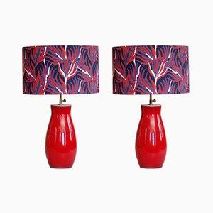 Lampes de Bureau Vintage en Céramique, Set de 2