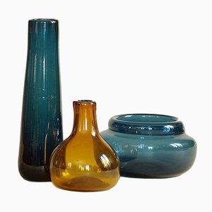 Jarrones de vidrio soplado de Claude Morin, 1979. Juego de 3