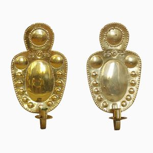 Brass Wall Candle Holders, 1890s, Set of 2