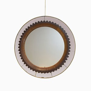 Italian Wood and Brass Mirror from Fratelli Marelli, 1940s