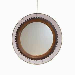 Italienischer Spiegel mit Rahmen aus Holz & Messing von Fratelli Marelli, 1940er