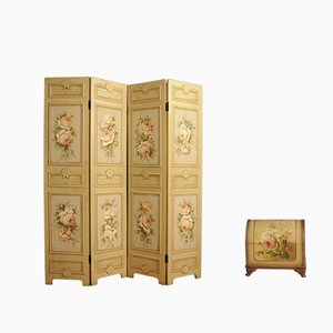 Vintage French Room Divider with Small Trunk Set