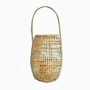 Large Mid-Century Hanakago Bamboo Basket from Ikebana