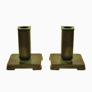 Patinated Bronze Candleholders from G.A.B., 1930s, Set of 2