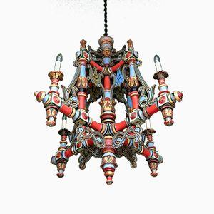Lustre Magistral Antique en Polychrome et Bois Peint