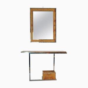 Juego de consola y espejo vintage de madera nudosa, cromo y latón
