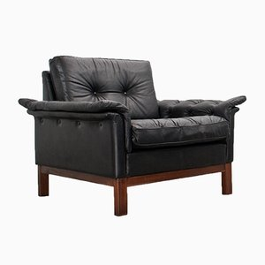 Mid-Century Scandinavian Black Leather Lounge Chair