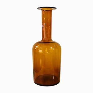 Large Amber Glass Gulwase Vase by Otto Brauer for Holmegaard, 1960s