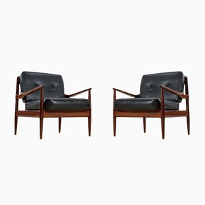 Vintage Rosewood and Skai Armchairs by Grete Jalk, Set of 2