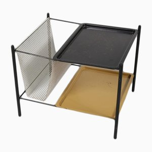 Dutch Metal Side Table with Magazine Rack, 1950s