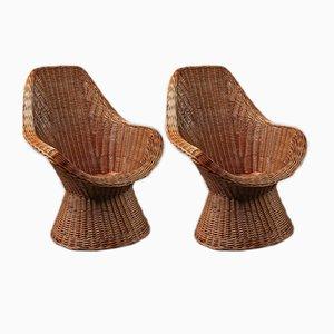 Chaises Vintage en Osier, 1960s, Set de 2