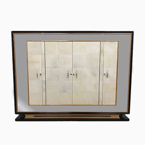 Art Deco Italian Parchment & Maple Wardrobe, 1940s
