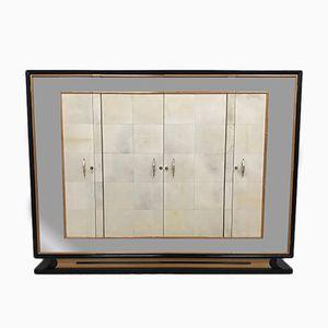 Italienischer Art Deco Kleiderschrank aus Pergament & Ahornholz, 1940er