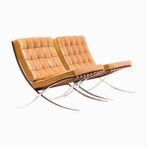 Cognac Leather Barcelona Chairs by Ludwig Mies van der Rohe for Knoll, 1988, Set of 2