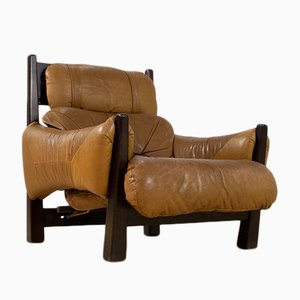 Brazilian Modern Brown Leather Lounge Chair, 1960s