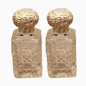 Parfümfläschchen aus geschliffenem Glas mit versilberten Deckel, 1903, 2er Set