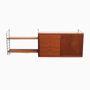 Vintage Teak Wall Unit by Nisse Strinning, 1960s