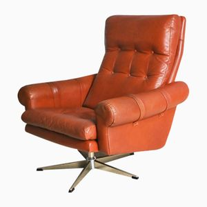 Vintage Danish Leather Swivel Chair
