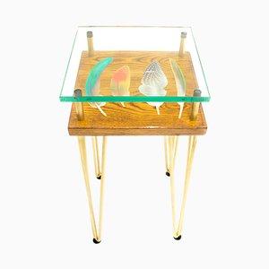 Haute et Fine Table d'Appoint avec Plumes d'Oiseau de Cappa E Spada