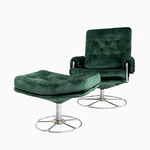 Vintage Drehstuhl und Fußhocker von Bruno Mathsson für Dux