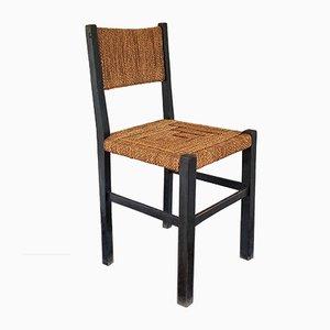 Beistellstuhl aus ebonisiertem Holz & Seilgeflecht von Francis Jourdain, 1930er