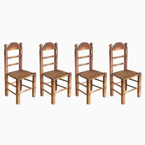 Spanische Vintage Stühle aus Pinienholz & Seil, 1940er, 4er Set