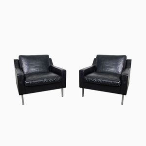 Vintage German Black Leather Chairs, 1960s, Set of 2
