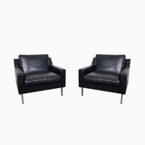 Vintage German Black Leather Chairs, 1960s, Set of 2