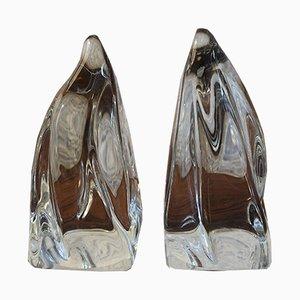 Fermalibri vintage in cristallo da Daum
