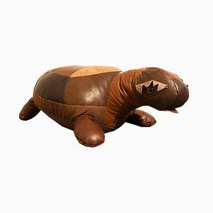 Vintage Patchwork Leather Turtle Pouf, 1970s