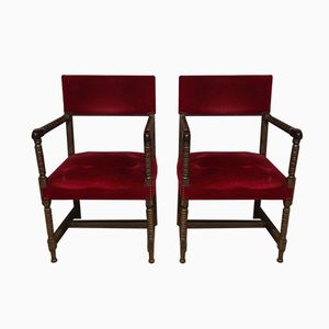 Art Deco Walnut Armchairs, Set of 2