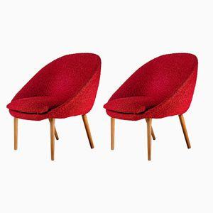 Sedie vintage rosse a forma di conchiglia, anni '60, set di 2