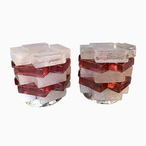 Lampade in vetro e metallo cromato di Poliarte, Italia, anni '70, set di 2