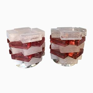 Lámparas italianas de vidrio cromado de Poliarte, años 70. Juego de 2