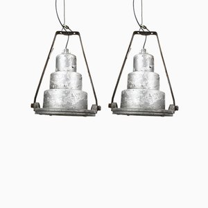 Large Vintage Industrial Pendants with Glass Shades, Set of 2
