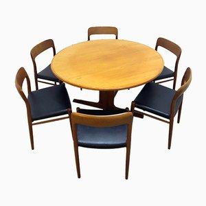 Mesa de comedor No. 75 danesa de teca con seis sillas de Niels Otto Möller para JL Möllers & Gudme, años 60