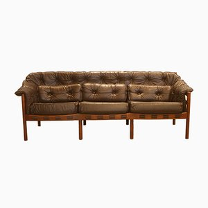 Mid-Century Leather 3-Seater Sofa by Arne Norell for Coja