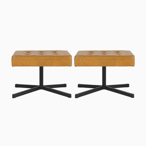 Mid-Century French Faux Leather Stools, 1960s, Set of 2