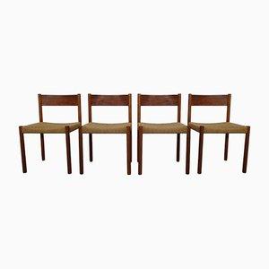 Esszimmerstühle mit Gestell aus Teak & Sitz aus Papierkordelgeflecht von Poul M. Volther für Frem Røjle, 1960er, 4er Set