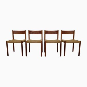 Teak & Papercord Dining Chairs by Poul M. Volther for Frem Røjle, 1960s, Set of 4
