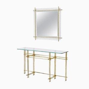 Consolle vintage in ottone lucido e in cristallo con specchio da parete