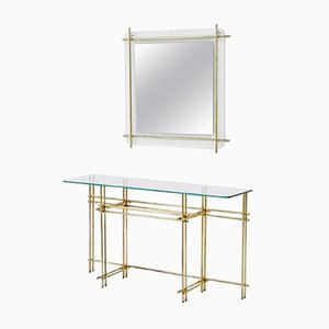 Juego de consola y espejo de pared vintage de latón pulido y cristal