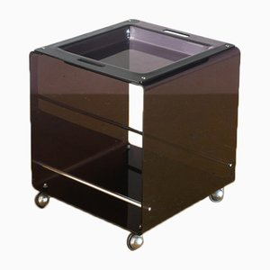 Spanish Methacrylate & Chromed Metal Side Table, 1970s