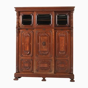 Antique Dutch Oak Bookcase with Sliding Doors, 1890s