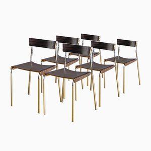 Set di sedie vintage in legno modellato e metallo cromato, Spagna, anni '70, set di 6